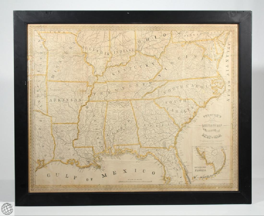 Antique 1863 FRAMED MAP OF THE SOUTHERN STATES Perrine