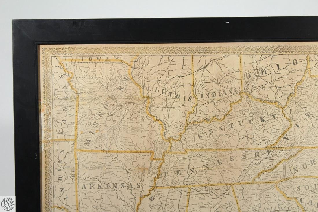 Antique 1863 FRAMED MAP OF THE SOUTHERN STATES Perrine - 2