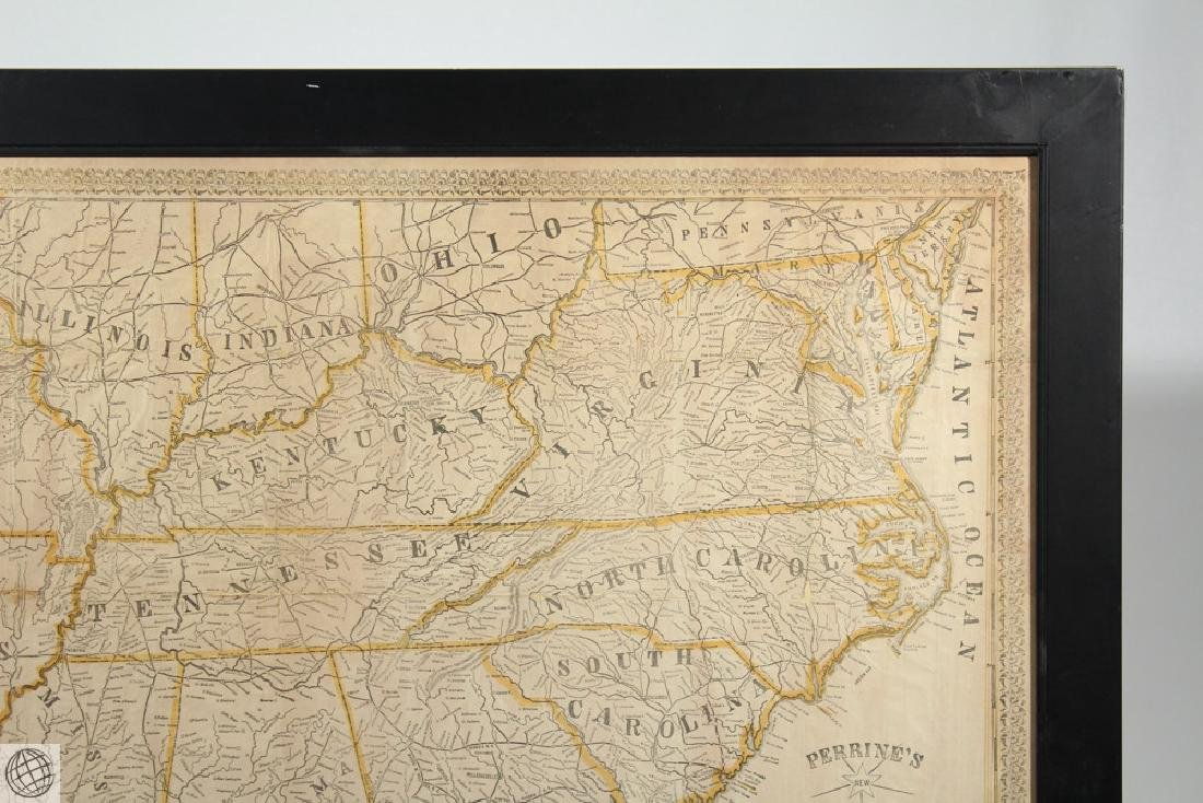 Antique 1863 FRAMED MAP OF THE SOUTHERN STATES Perrine - 3