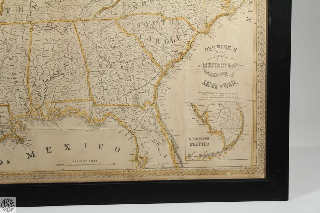 Antique 1863 FRAMED MAP OF THE SOUTHERN STATES Perrine - 4