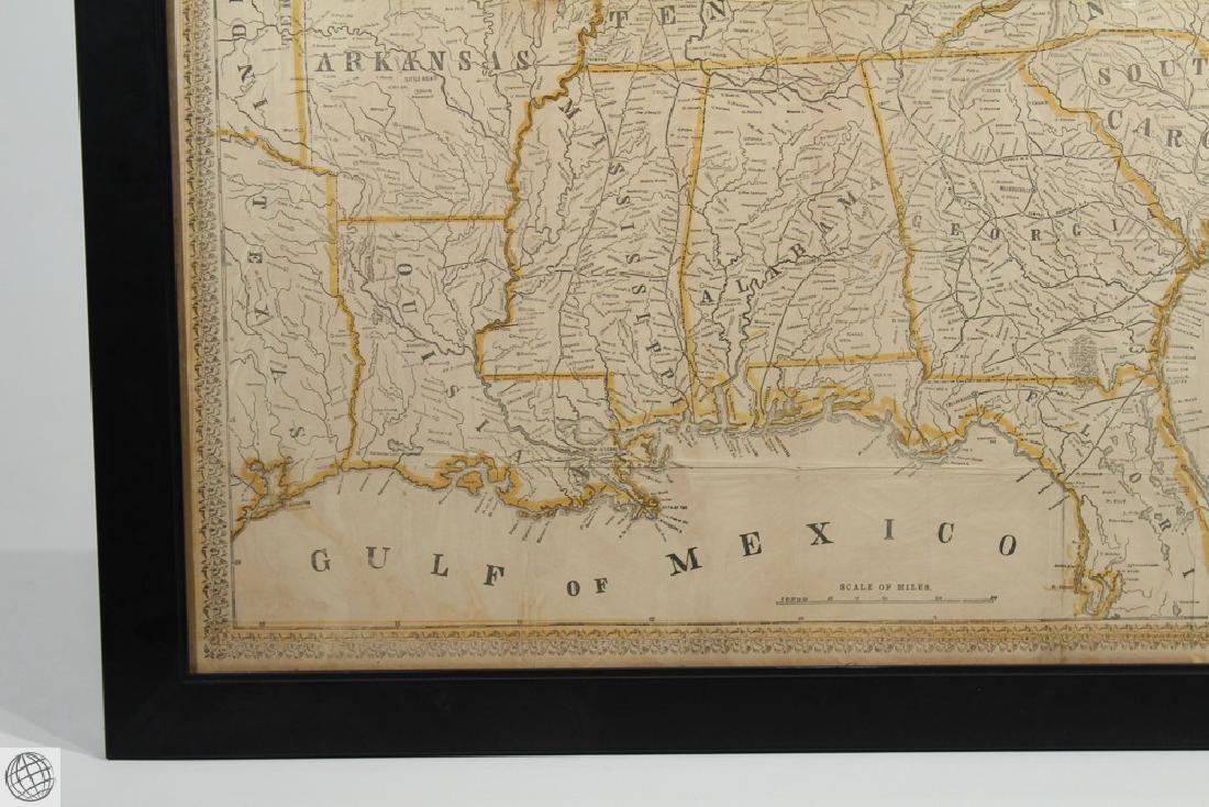 Antique 1863 FRAMED MAP OF THE SOUTHERN STATES Perrine - 5