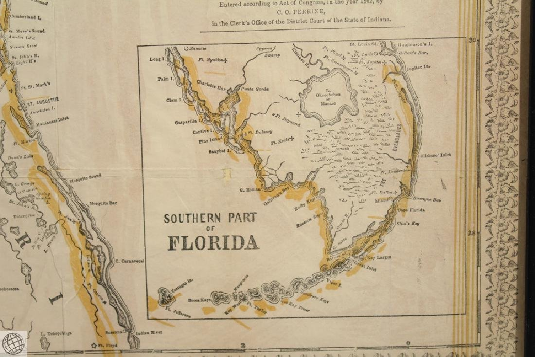 Antique 1863 FRAMED MAP OF THE SOUTHERN STATES Perrine - 7