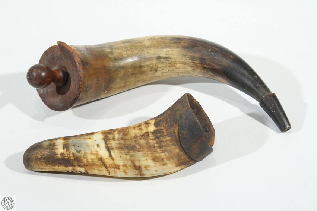 2Pcs Antique 1900s POWDER HORN AND DRINKING HORN Musket