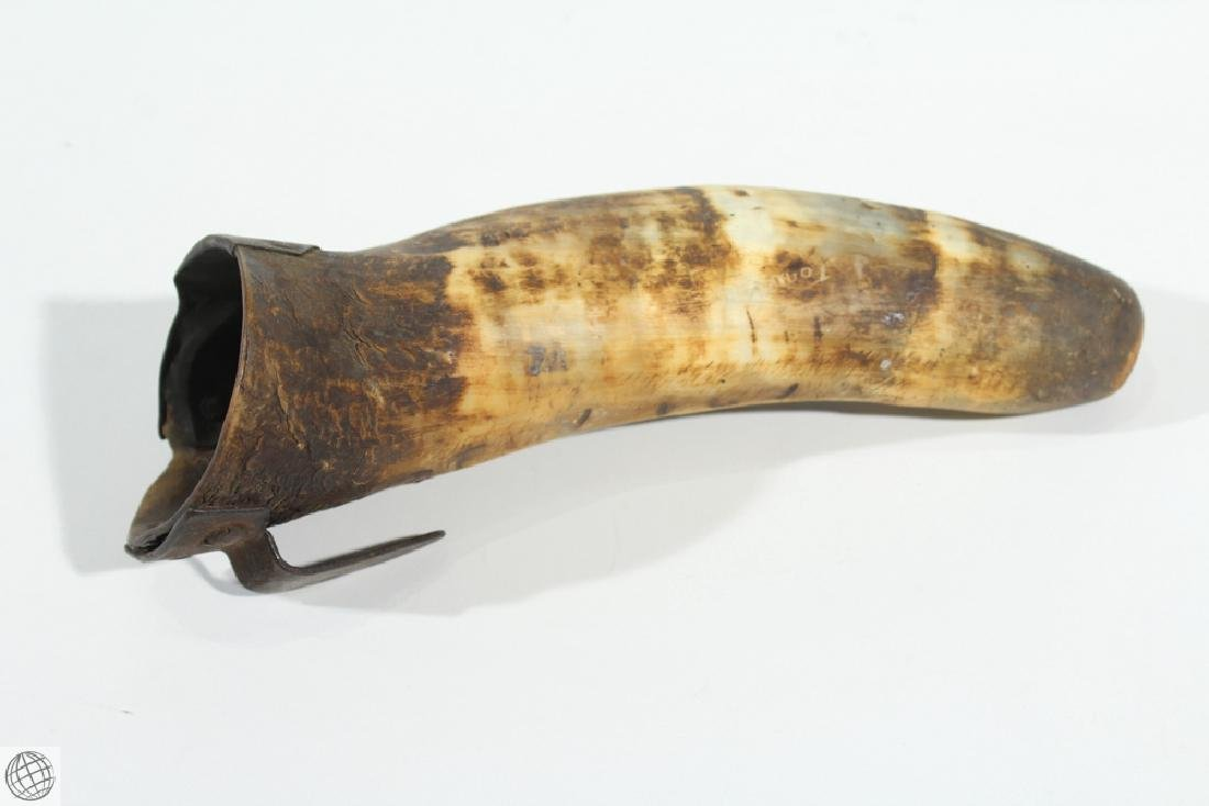 2Pcs Antique 1900s POWDER HORN AND DRINKING HORN Musket - 4