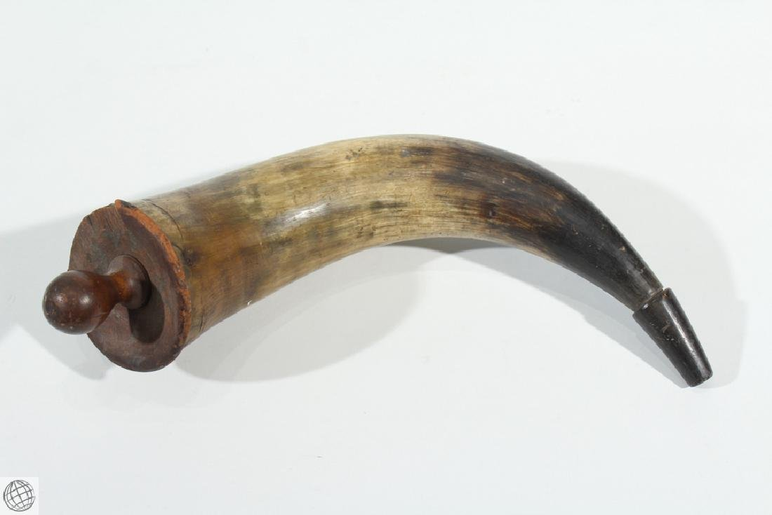 2Pcs Antique 1900s POWDER HORN AND DRINKING HORN Musket - 7