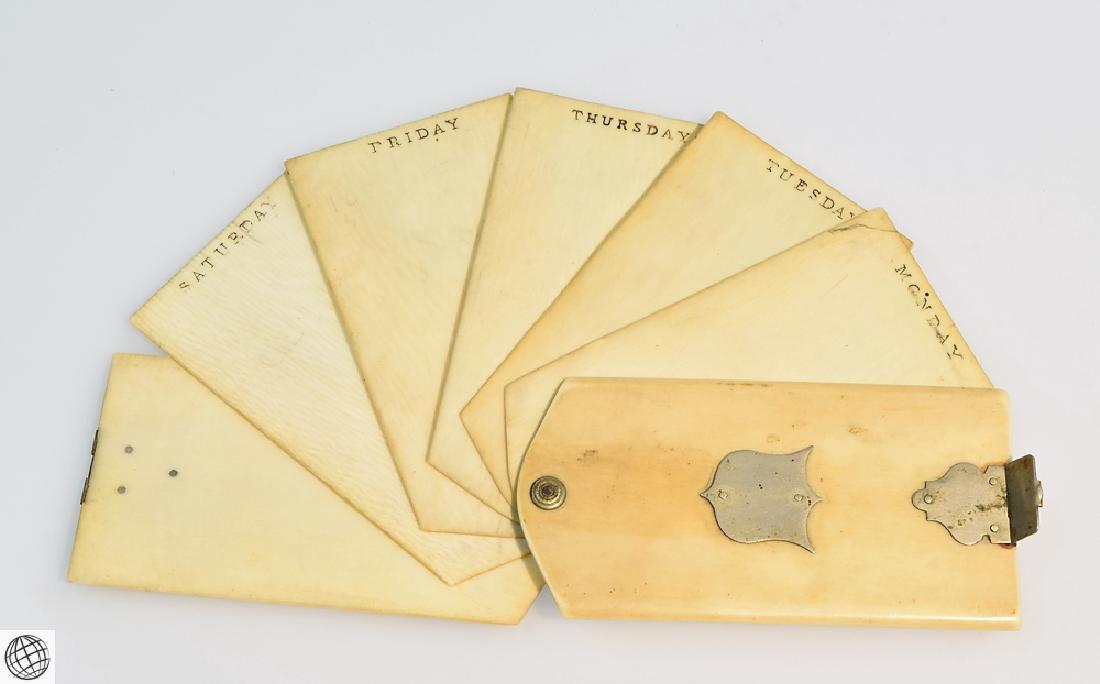 5Pcs Antique Travel Correspondence BONE AGENDA NOTEBOOK - 2