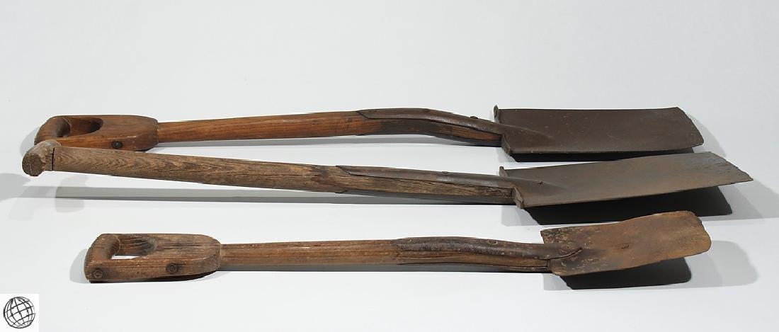 3Pcs Antique Hand Made WOODEN HANDLED IRON SHOVELS