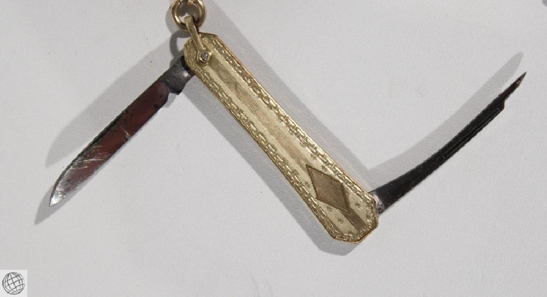 Antique 1887 ELGIN POCKET WATCH FOLDING KNIFE Fob - 4