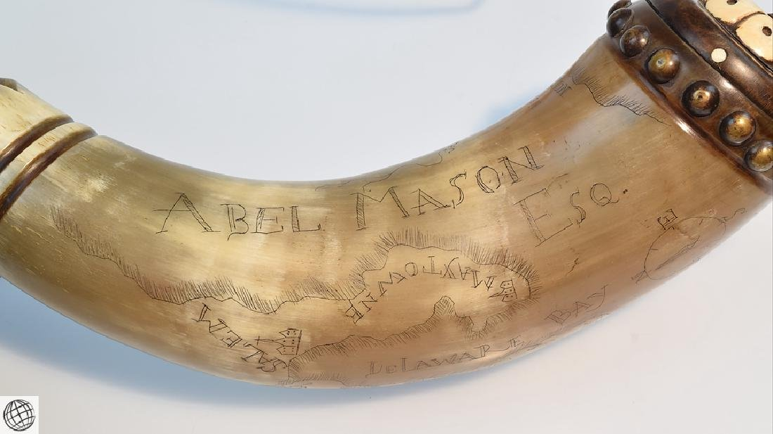 Antique American ENGRAVED POWDER HORN Abel Mason Esq - 5