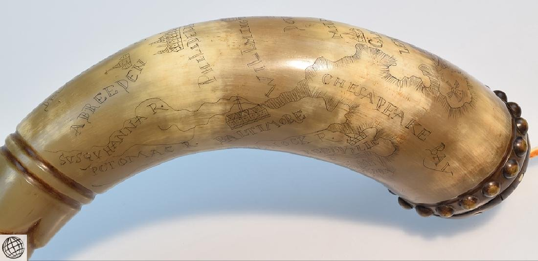 Antique American ENGRAVED POWDER HORN Abel Mason Esq - 6