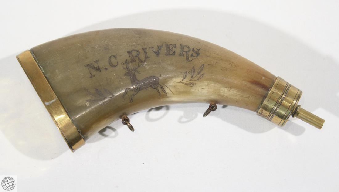 Decorative Antique 1813 POWDER HORN WITH GOLD-TONE