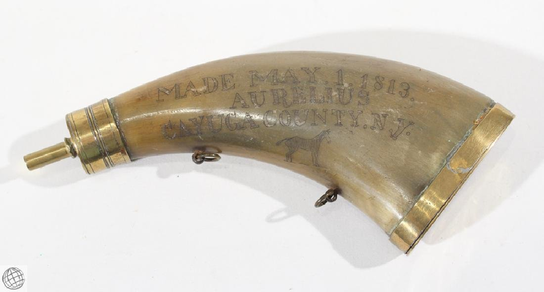 Decorative Antique 1813 POWDER HORN WITH GOLD-TONE - 5