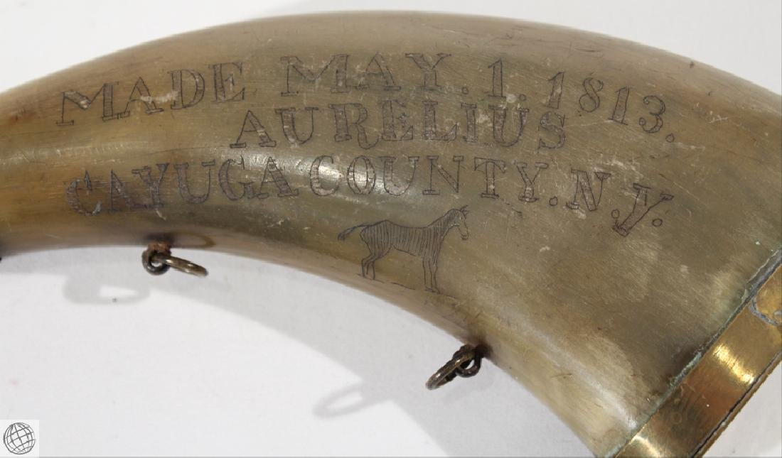 Decorative Antique 1813 POWDER HORN WITH GOLD-TONE - 7