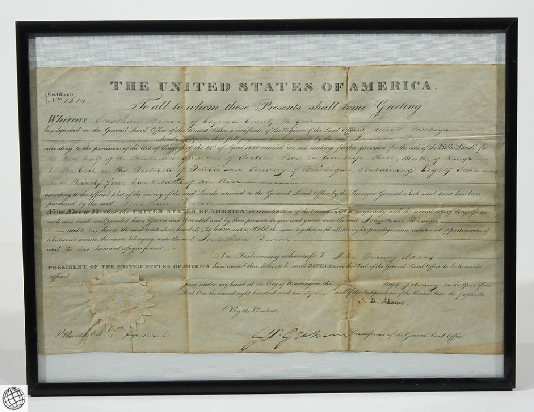 Land Grant SIGNED JOHN QUINCY ADAMS As President United