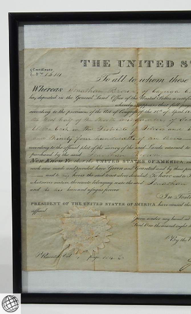 Land Grant SIGNED JOHN QUINCY ADAMS As President United - 2