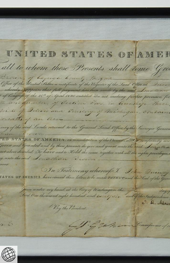 Land Grant SIGNED JOHN QUINCY ADAMS As President United - 3