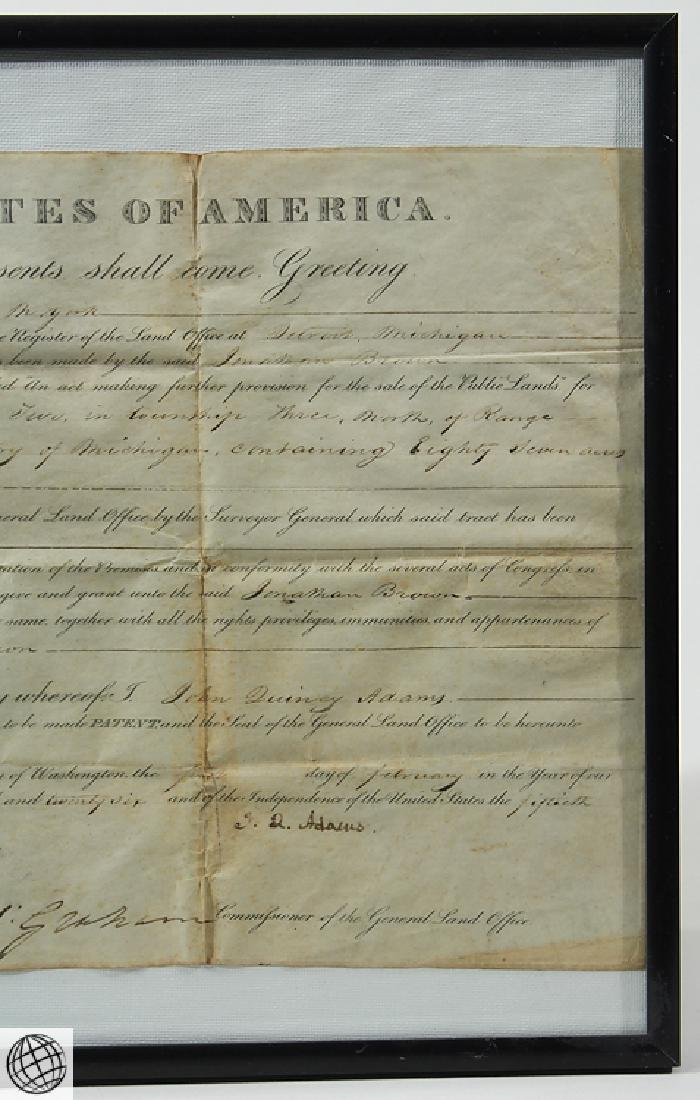 Land Grant SIGNED JOHN QUINCY ADAMS As President United - 4