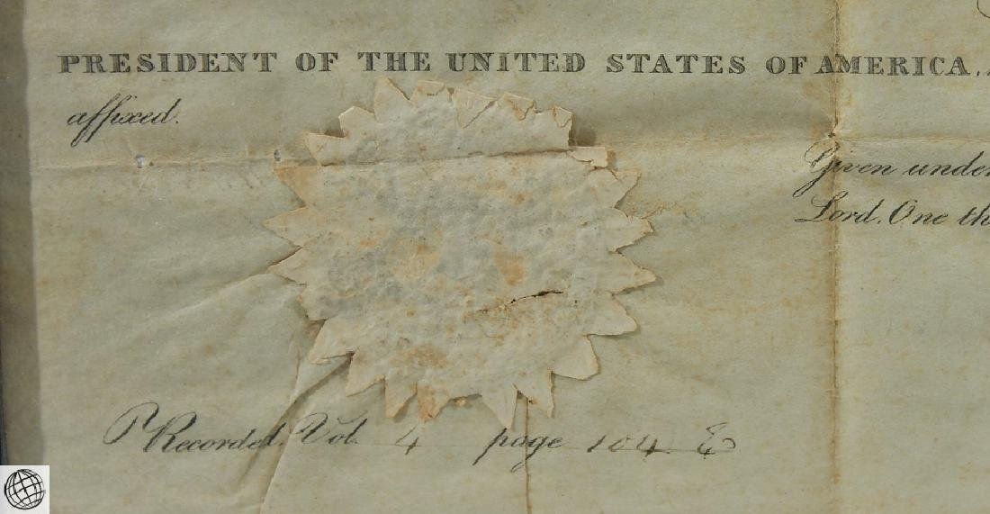 Land Grant SIGNED JOHN QUINCY ADAMS As President United - 5