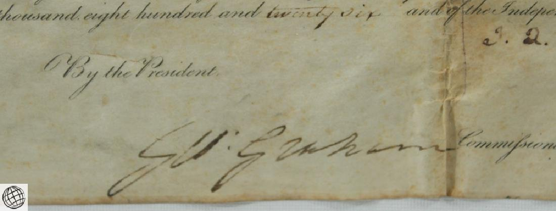 Land Grant SIGNED JOHN QUINCY ADAMS As President United - 6