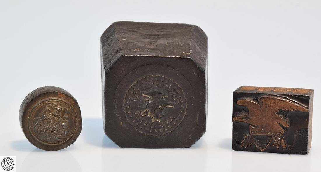 3Pcs American WAX SEAL DIE STAMP MOLD c19th Century - 2