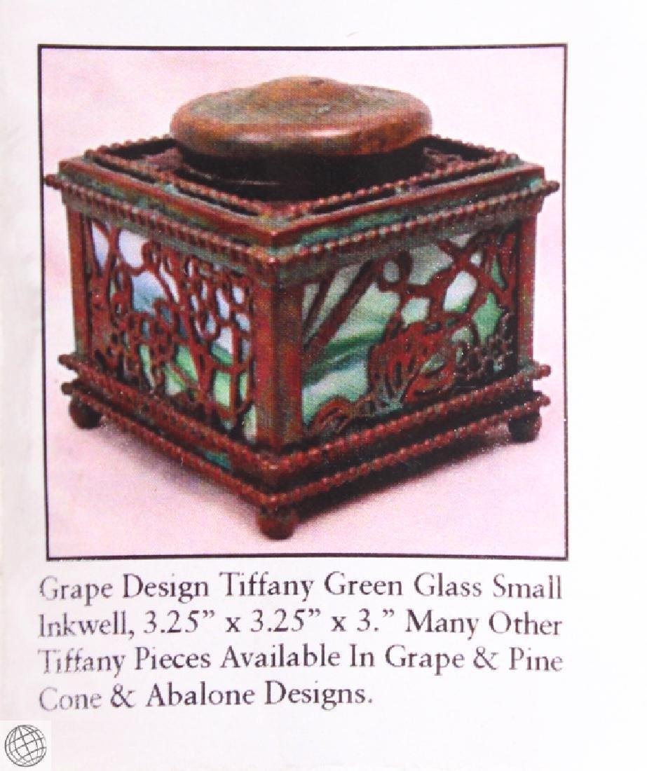 Antique Decorative TIFFANY STUDIOS INKWELL Green Glass - 9