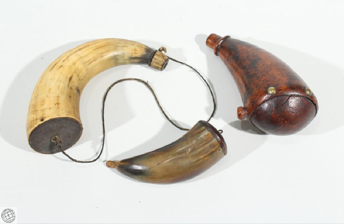 3Pcs Antique 1900s BONE AND WOOD GUNPOWDER HORNS Musket
