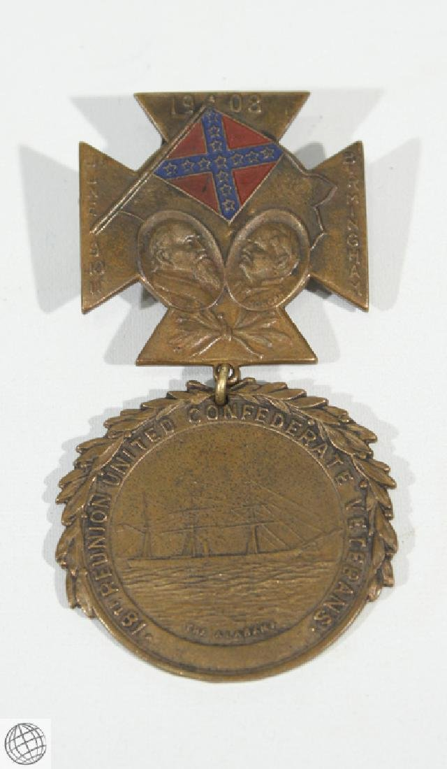 Antique Confederate REUNION MEDAL BADGE 1908 Birmingham