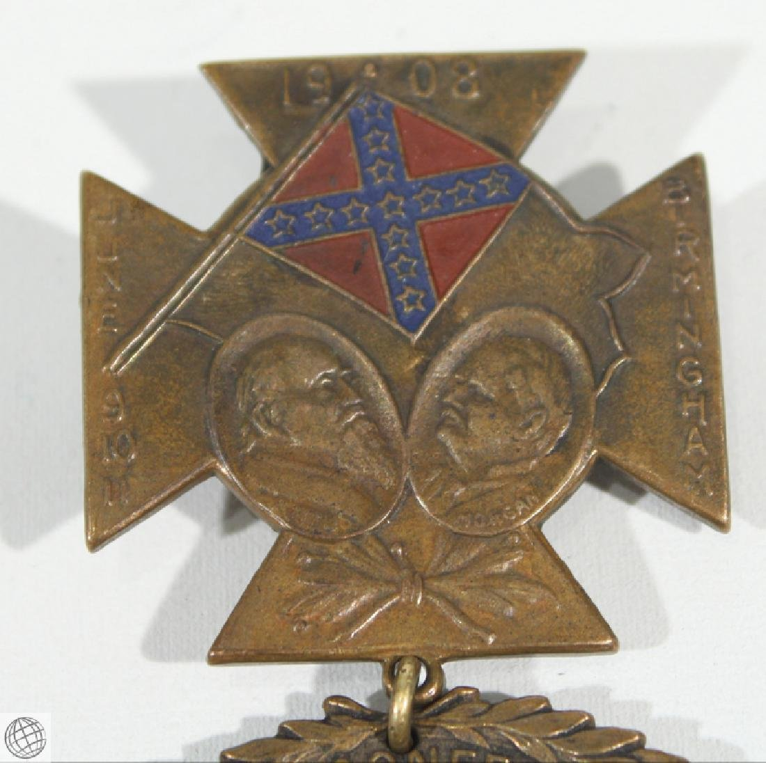 Antique Confederate REUNION MEDAL BADGE 1908 Birmingham - 2