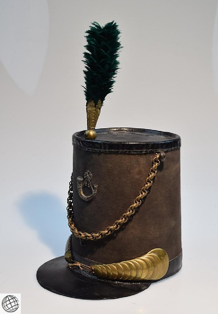 2Pcs Scarce Mid 19th Century STOVEPIPE SHAKO AND PLUME