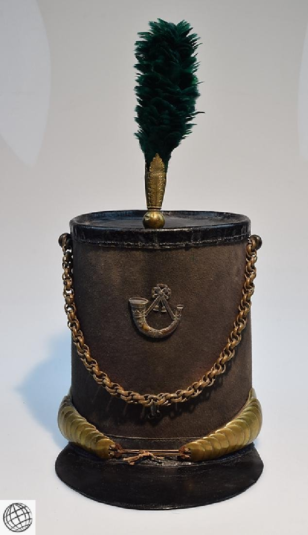 2Pcs Scarce Mid 19th Century STOVEPIPE SHAKO AND PLUME - 2