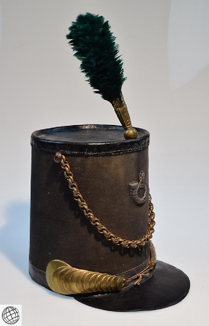 2Pcs Scarce Mid 19th Century STOVEPIPE SHAKO AND PLUME - 3