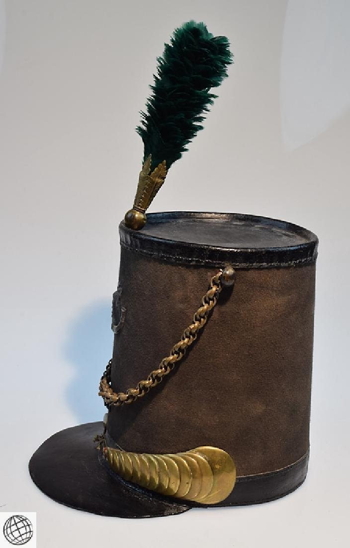 2Pcs Scarce Mid 19th Century STOVEPIPE SHAKO AND PLUME - 4