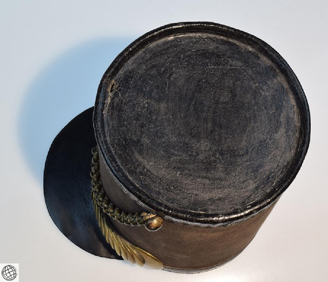 2Pcs Scarce Mid 19th Century STOVEPIPE SHAKO AND PLUME - 7