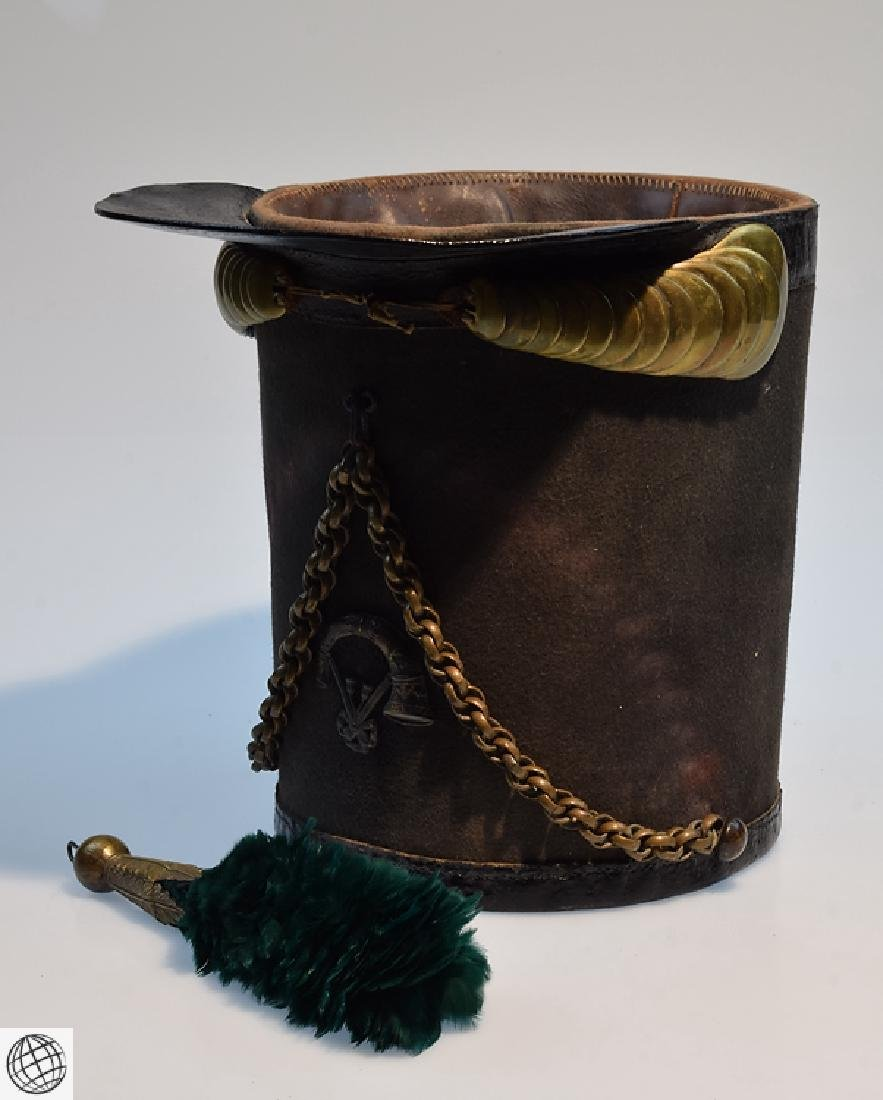 2Pcs Scarce Mid 19th Century STOVEPIPE SHAKO AND PLUME - 9