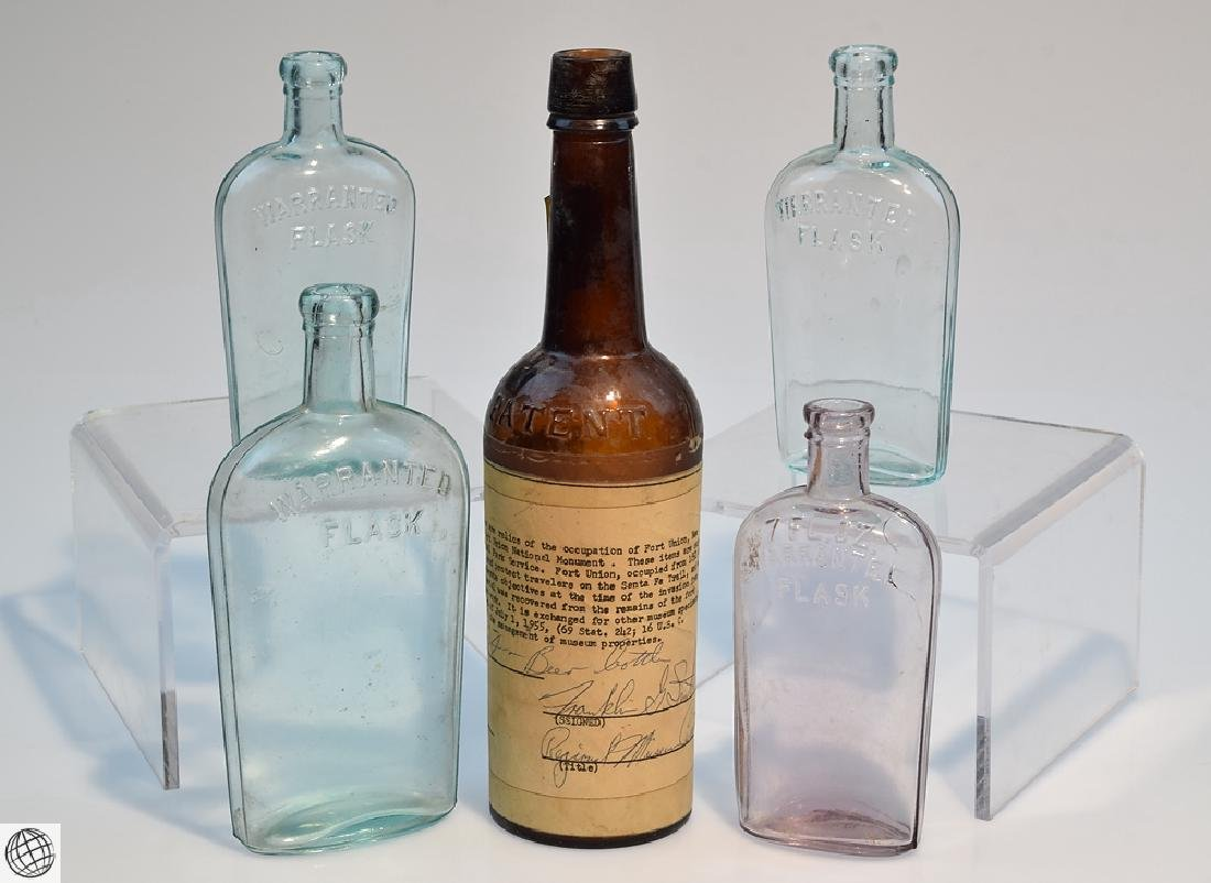 5Pcs Civil War Era 19th Century ANTIQUE GLASS FLASKS
