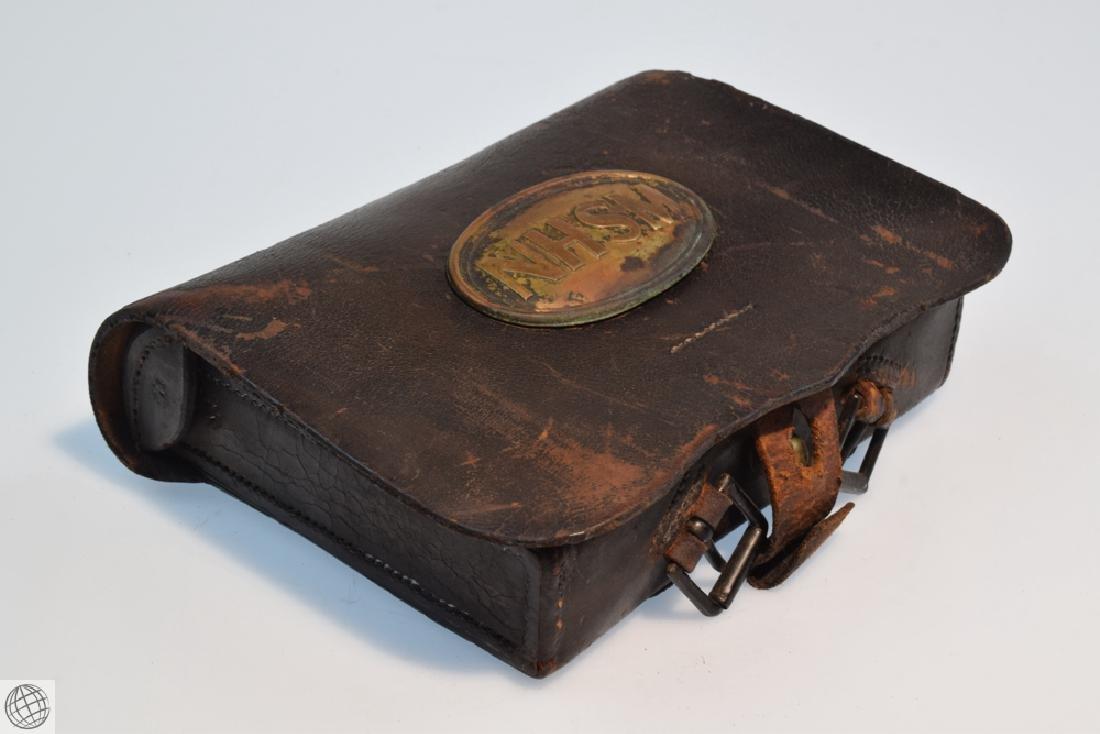 Civil War Period EMBOSSED LEATHER CARTRIDGE BOX Union