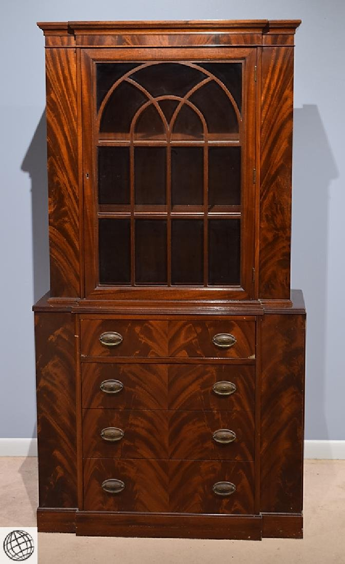 Traditional Dark Hardwood BREAKFRONT CHINA CABINET WITH