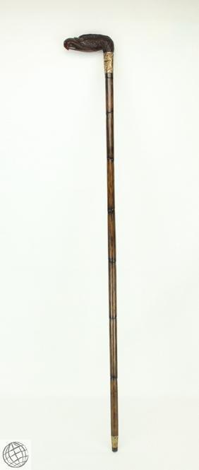 Antique ORNATE CARVED EAGLE HANDLE WALKING CANE c 1900s
