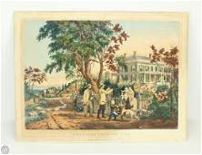 N Currier ORIGINAL HAND COLORED STONE LITHOGRAPH Large