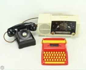 3Pcs Vintage TOY TYPEWRITER 1947 TELEPHONE ART DECO