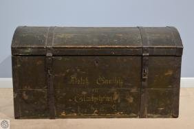 German LARGE WOODEN EMIGRANT TRUNK c 1849 1900s Antique