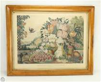 Framed Currier And Ives ORIGINAL HAND COLORED STONE