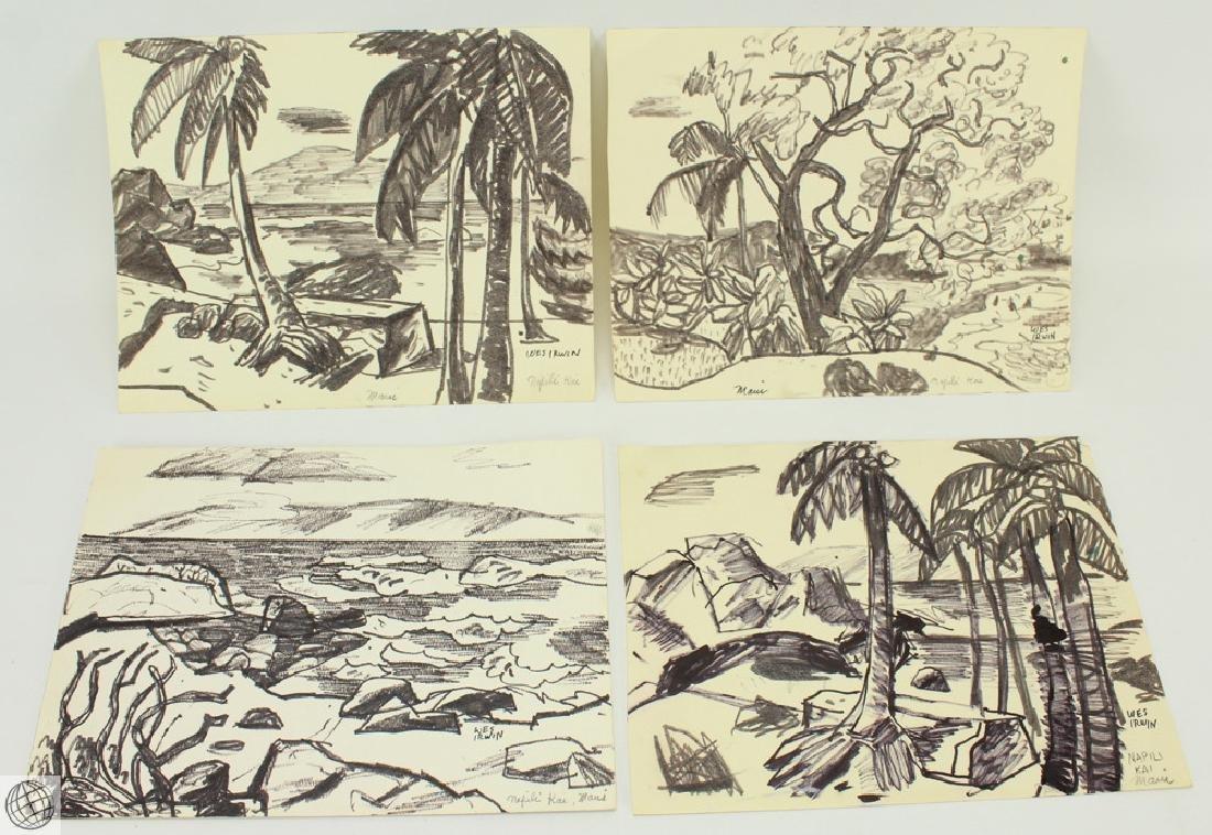 4Pcs Napili Kai in Maui WES IRWIN C1950s Ink Marker On