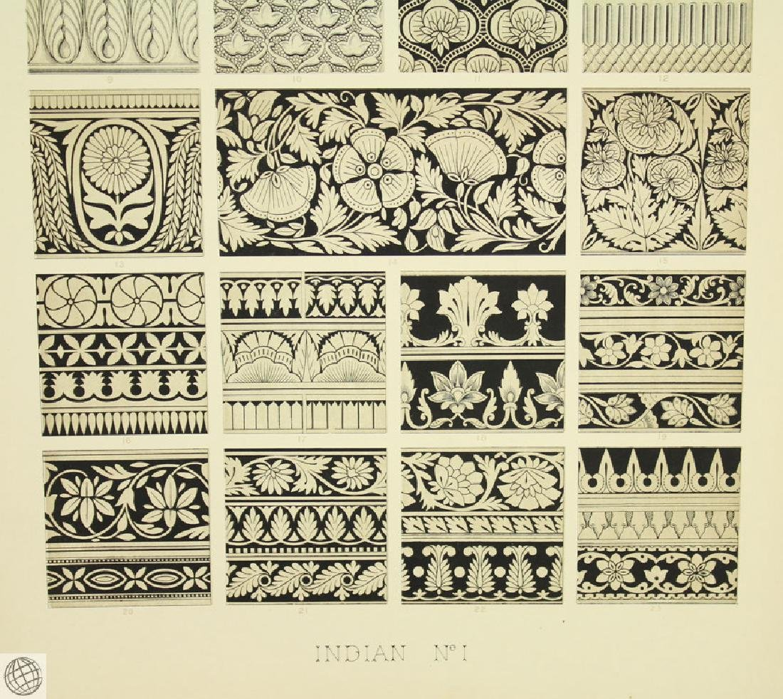 7Pcs Indian Hindu Decorative Motifs OWEN JONES 1856 - 10