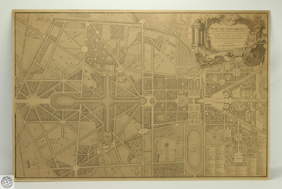 Plan de Versailles LABBE DELAGRIVE C1746 Engraving