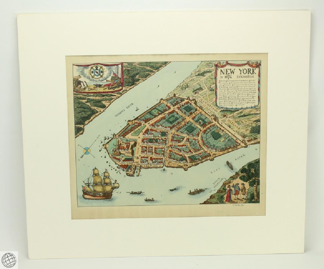 New York in 1674 C VARDEL Early 20thC Hand Colored Laid