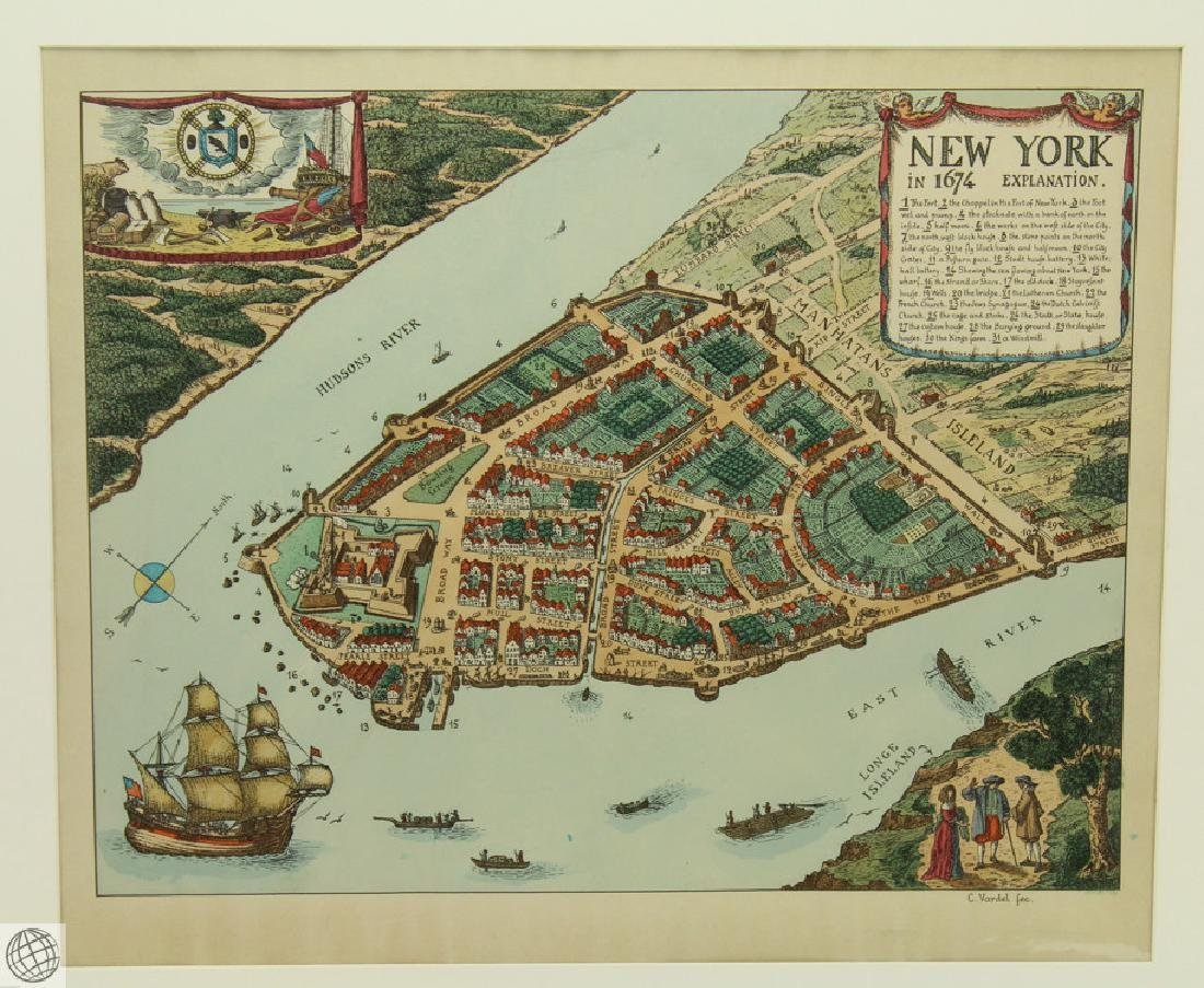 New York in 1674 C VARDEL Early 20thC Hand Colored Laid - 2