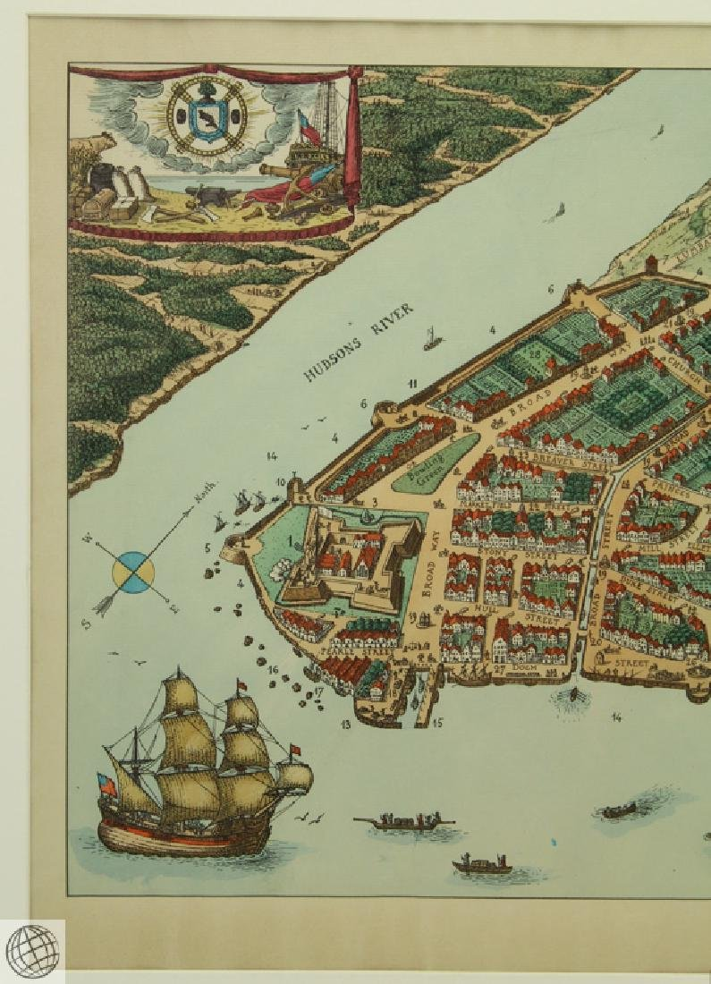 New York in 1674 C VARDEL Early 20thC Hand Colored Laid - 3