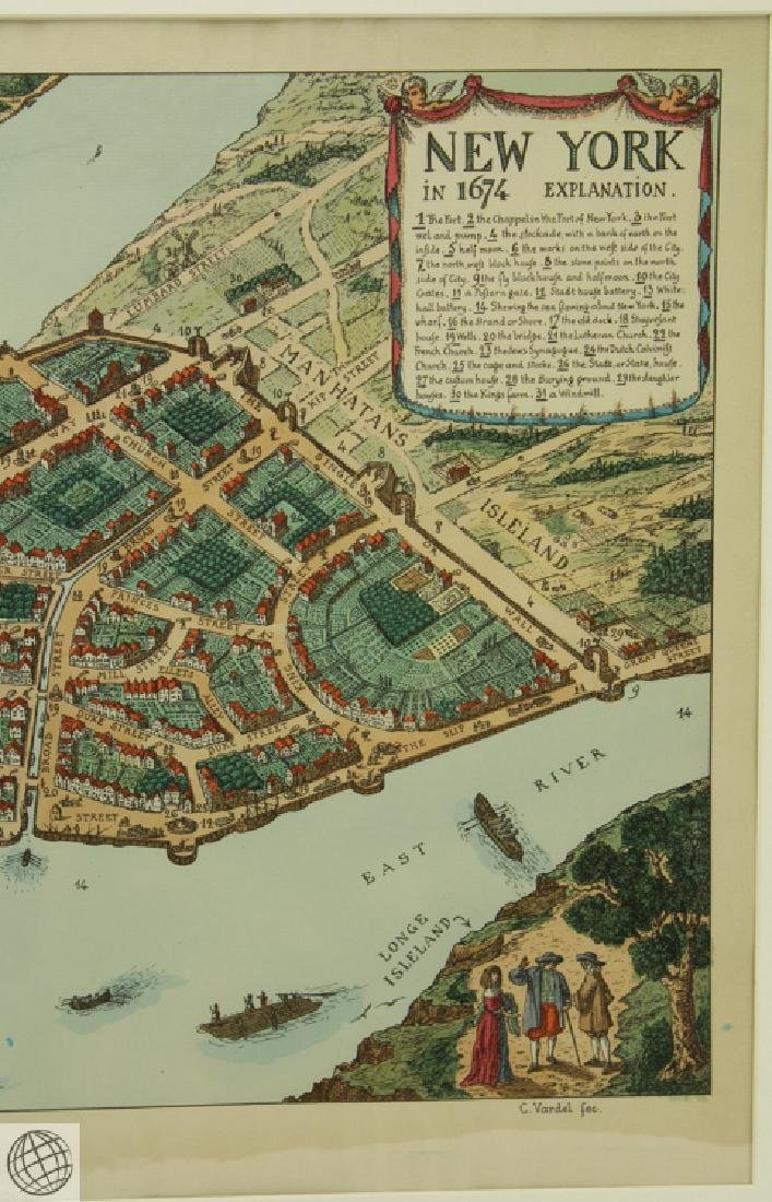 New York in 1674 C VARDEL Early 20thC Hand Colored Laid - 4