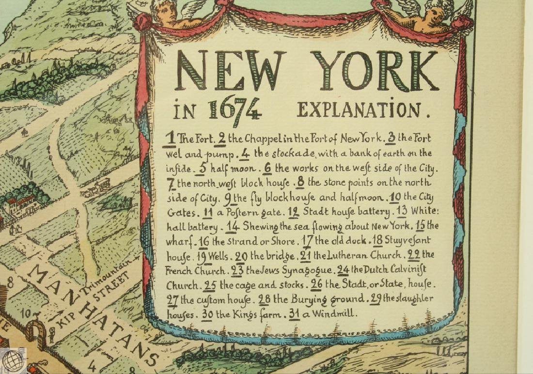 New York in 1674 C VARDEL Early 20thC Hand Colored Laid - 5
